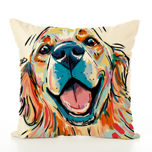 Originality Flax Cushion Cover Printed Cute Dog Pillow Case Office Pillow Case Home Textiles Cushion Cover недорого