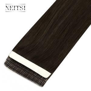 """Image 3 - Neitsi mais novo fita em extensões de cabelo humano remy invisível dupla desenhada amor linha de trama da pele cabelo em linha reta 16 """"20"""" 24 """"disponível"""