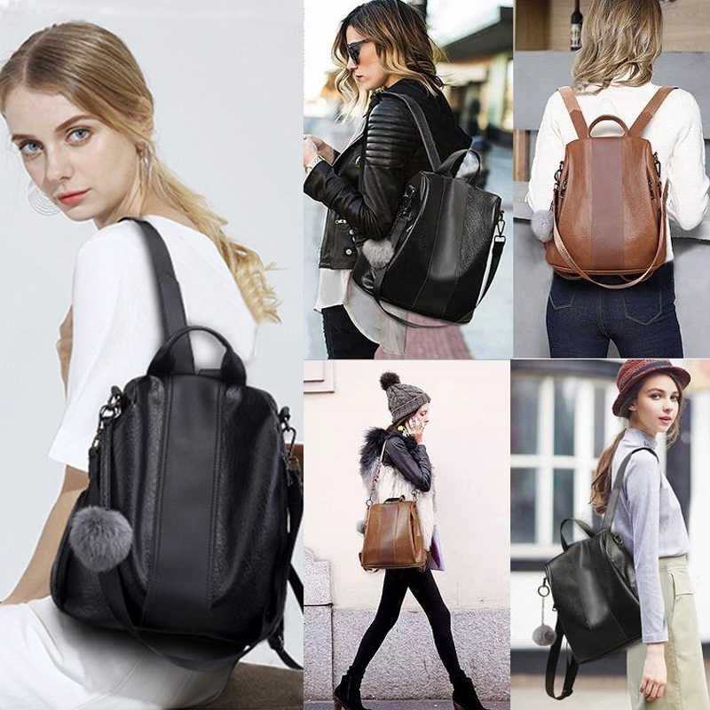 2020 baru Fashion Wanita Ransel Vintage PU Kulit tas bahu Ransel kapasitas besar Untuk Wanita Perjalanan Tas Mochila Sekolah
