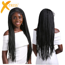 Box Braids Synthetic Lace Front Wigs Senegalese Twist Long Straight Ear To Ear Braided Hair 13X4 Lace Wig With Baby Hair X TRESS