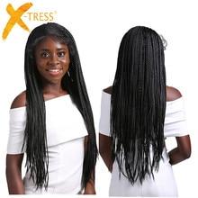 תיבת צמות סינטטי תחרה מול פאות Senegalese טוויסט ארוך ישר אוזן לאוזן קלוע שיער 13X4 פאת תחרה עם תינוק שיער X TRESS