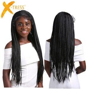Image 1 - ボックス組紐合成レースフロントウィッグsenegaleseツイストロングストレート耳に耳編組髪13X4で髪X TRESS