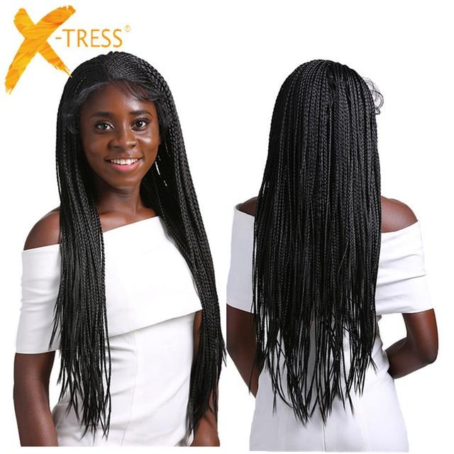 ボックス組紐合成レースフロントウィッグsenegaleseツイストロングストレート耳に耳編組髪13X4で髪X TRESS