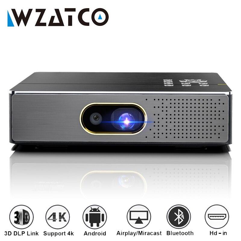 Портативный мини-проектор WZATCO S5 DLP 3D, проектор 4K 5G WIFI Smart Android для домашнего кинотеатра, видеопроектор Full HD 1080P, лазерный проектор