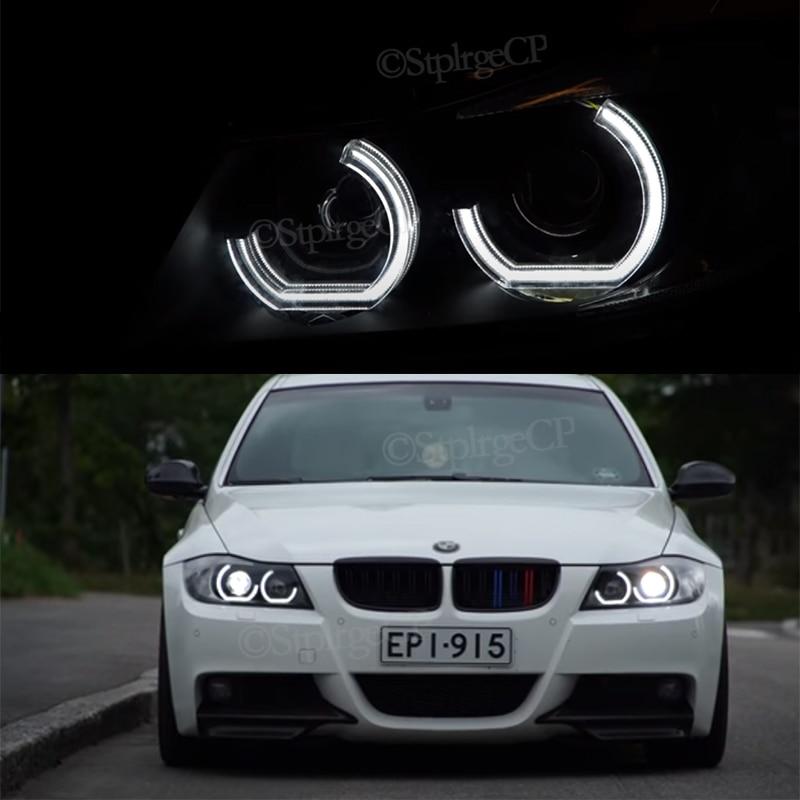 Светодиодное кольцо «ангельские глазки», акриловое кольцо DRL в стиле DTM для BMW 3 серии E90 E91 2005 2006-2008, аксессуары для ксеноновых фар