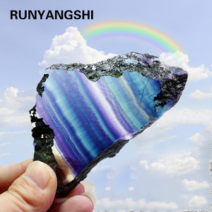 Natural Rainbow rough Fluorite Stone Crystal Slices colorful striped fluorite quartz jewelry stone ornaments crystal original