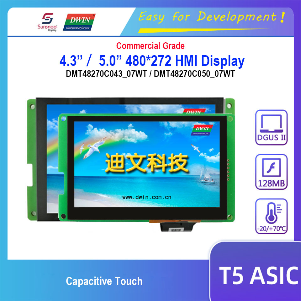 Dwin T5 HMI Display, 4.3 DMT48270C043_07WT 5.0 DMT48270C050_07WT 480X272 LCD Module Screen Capacitive Touch Panel image
