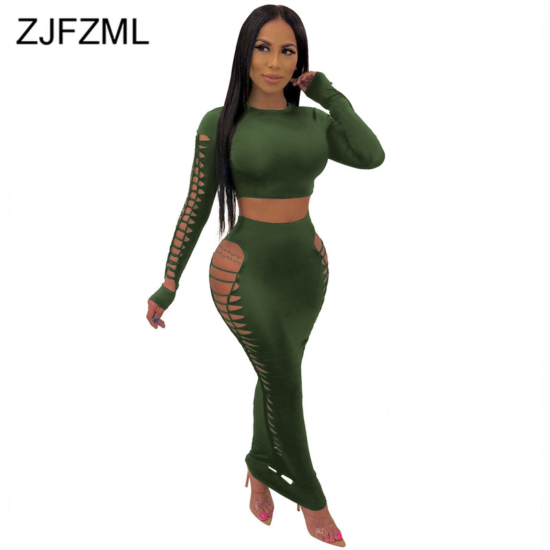 Hollow Out Hole Sexy Two Piece Skirt Set Women Round Neck Full Sleeve Crop Top And Ripped Bandage Long Skirts 2 Pcs Sweat Suits