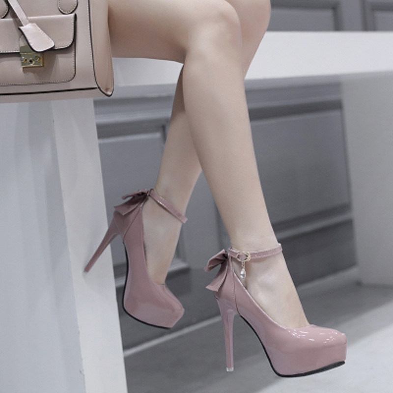 Women's High Heels Ultimate Sexy High Heel Waterproof Platform 16cm High Heel Single Shoes Women's Wedding Shoes White.
