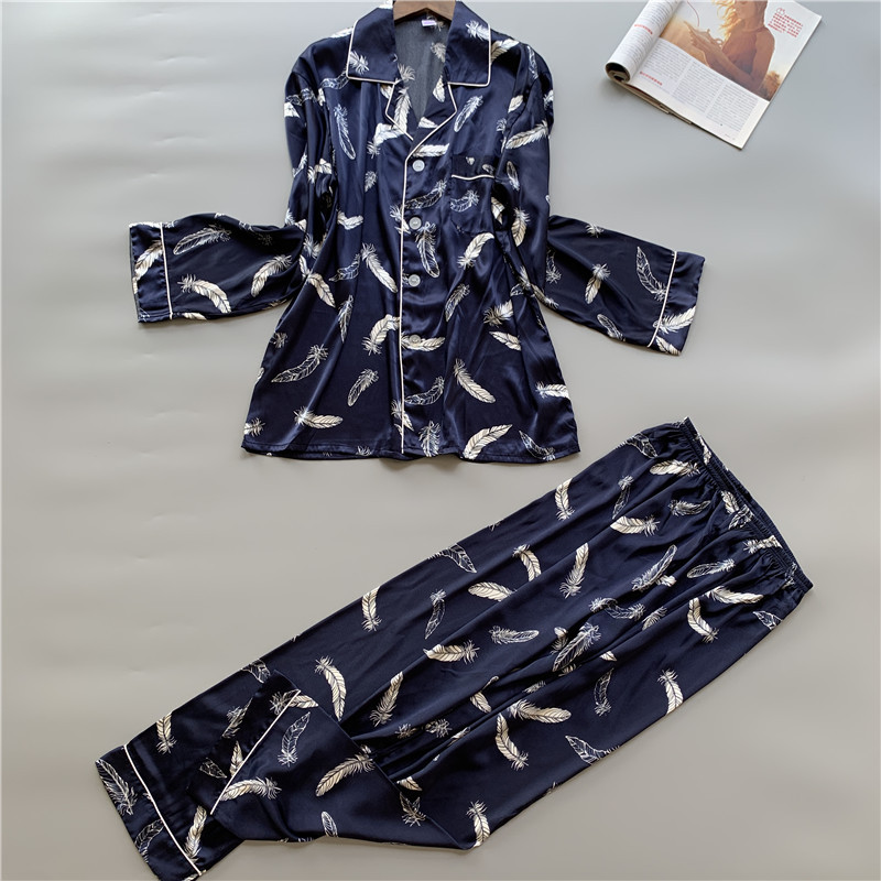 Men Pyjama Set Spring Long Sleeve Print Men Pajama Suit Autumn Nightwear Collar Pijama Male Sleepwear Two Piece XXXL
