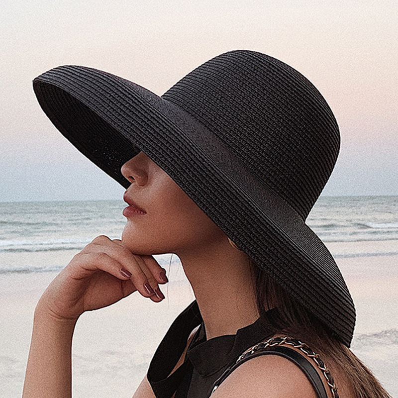 Wind Retro Beach Straw Hat Female Summer Seaside Big Brim Sun Protection Sun Shade Travel Vacation Leisure Wild Big Brim  Hat
