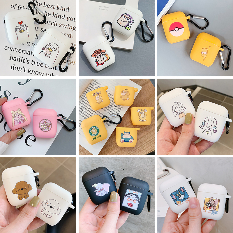 Cute Cartoon Wireless Bluetooth Earphone Cases For Apple Airpods 2 Headset Soft Silicone Protective Cover For Airpod Accessories