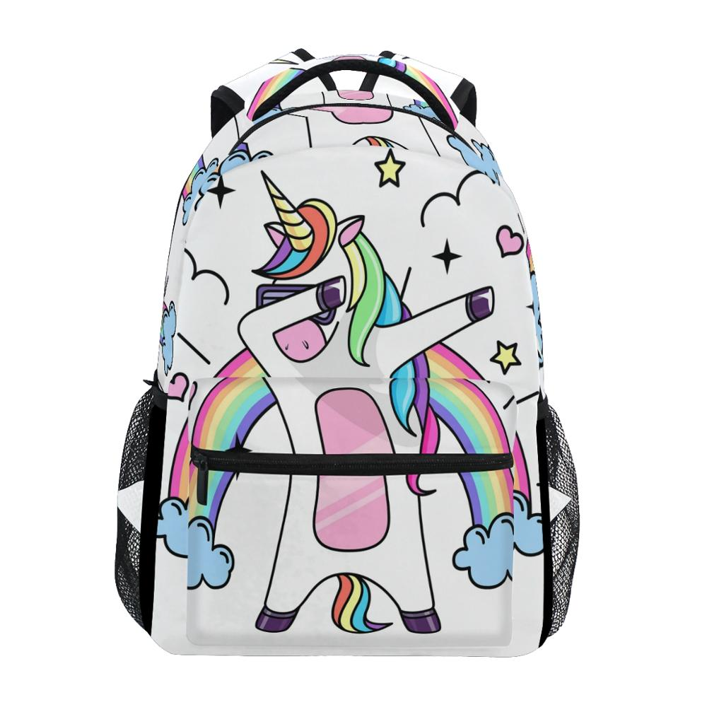 ALAZA New Backpack School Bags Unicorn Prints Fashion Boy Girls Backpack Student Elementary Schoolbags National Flags Book Bags