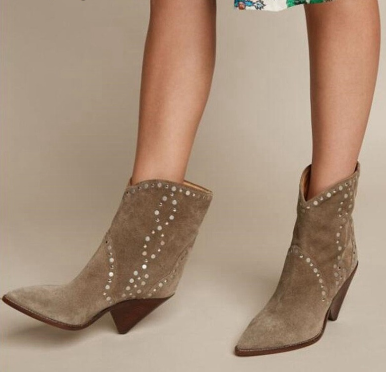Brown Suede Rivets Studded Spike Heel Women Ankle Boots Pointed Toe Cowboy Booties Sexy Lady Winter Shoes Plus Size Ridding Boot
