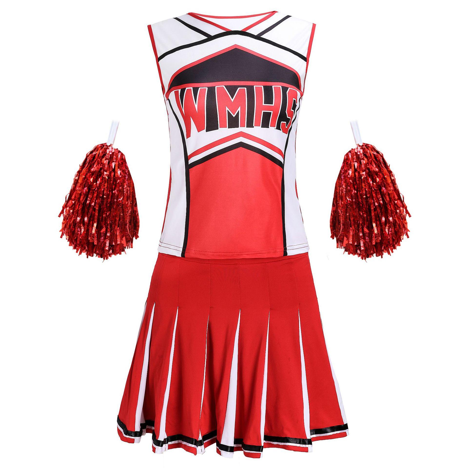 Cheerleader Costume Schoolgirl Lingerie Tank Top Petticoat Pom Cheerleader 2 Pcs Suit Red Nightclub Party Football Baby Uniform