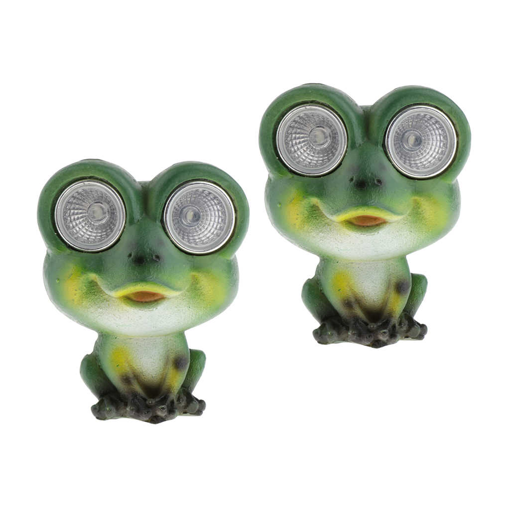 2 Pcs Verde Resina Frog Statue con Solar Powered Luci LED Occhi, Sculture di Animali Esterna Giardino Patio Decorazione