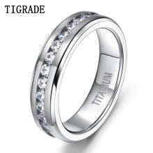 Tigrade 6/7/8mm Titanium Rings For Men Women Silver with Cubic Zirconia Wedding Band Engagement Ring Couple anillo mujer