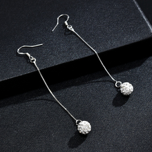 Trendy Vintage Long Earrings For Women Silver Hook Crystal Round Drop Dangle Earrings