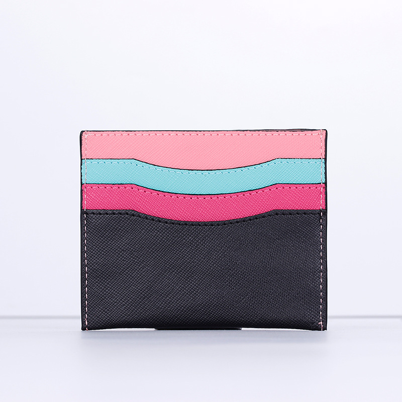 Joint Card Holder Rainbow Genuine Leather Cowhide Card Bag Western Style Multi-functional Ultra-Thin Simple Mini Wallet Cross Pa