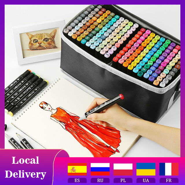 36/80/168/262 Colors Double Headed Art Marker Pen Set Artist Sketch Oily Tip Alcohol Based Markers For Manga School Art Supplies