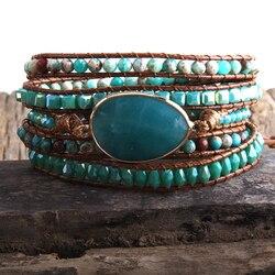 Rh nova moda boho pulseira azul pedras naturais grama amazonita charme 5 fios tecido envoltório pulseiras presente dropshipping