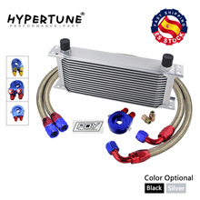UNIVERSAL 16 ROWS OIL COOLER KIT +OIL FILTER SANDWICH ADAPTER +  STAINLESS STEEL BRAIDED AN10 HOSE With PQY  STICKER+BOX