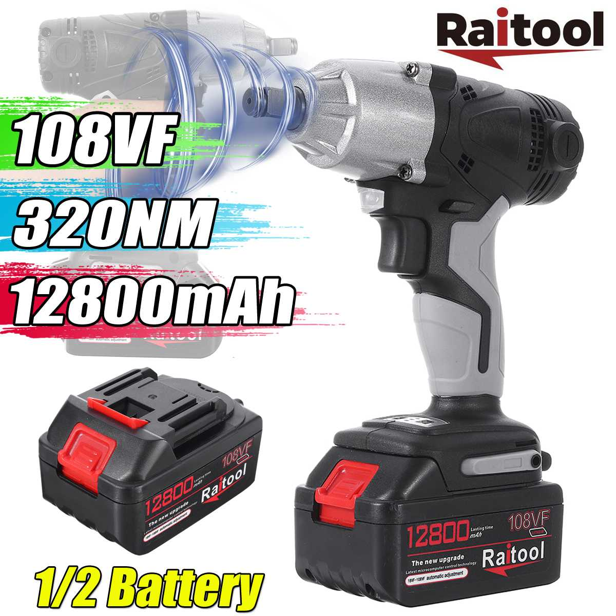 108VF 12800mAh Cordless Electric Impact Wrench Stepless Speed Lithium-Ion <font><b>Battery</b></font> <font><b>Drill</b></font> <font><b>Driver</b></font> Kit W/ 1 or 2 <font><b>Battery</b></font> Power Tool image