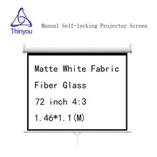 Thinyou 72 inch 4:3 Manual self-locking Projector Screen Matte White Fabric Fiber Glass Pull Down for home theater