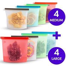 Bolsa de almacenamiento de silicona reutilizable, 1000ml y 1500ml, bolsas de almacenamiento de silicona para alimentos, sellado hermético, bolsas frescas para cocinar en el congelador