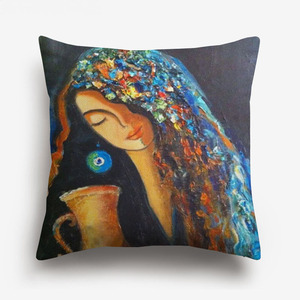 Image 3 - Middle East Islamic Oil Paintings Women Lady Cushion Covers Arabian Folk Culture Art Pillow Cover Bedroom Linen Pillowcase