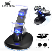 цена на Data Frog LED Dual USB Charging Dock Charger Controller Game Controller Stand Holder For Sony PS4 PlayStation 4/PS4 Slim/PS4 Pro