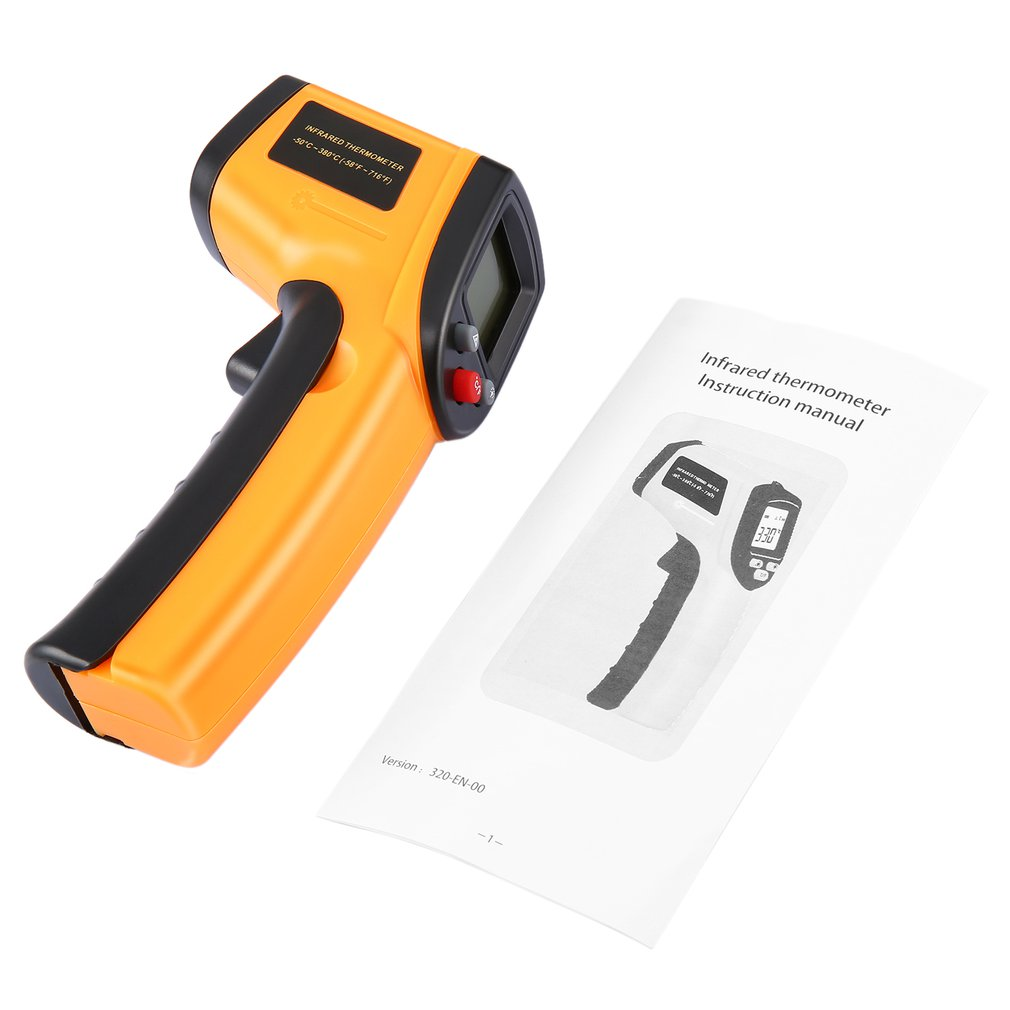 Digital Thermometer 140 X 70 X 38mm Red Laser Infrared Thermometer Non-Contact IR Pyrometer LCD Temperature Meter Gun Point