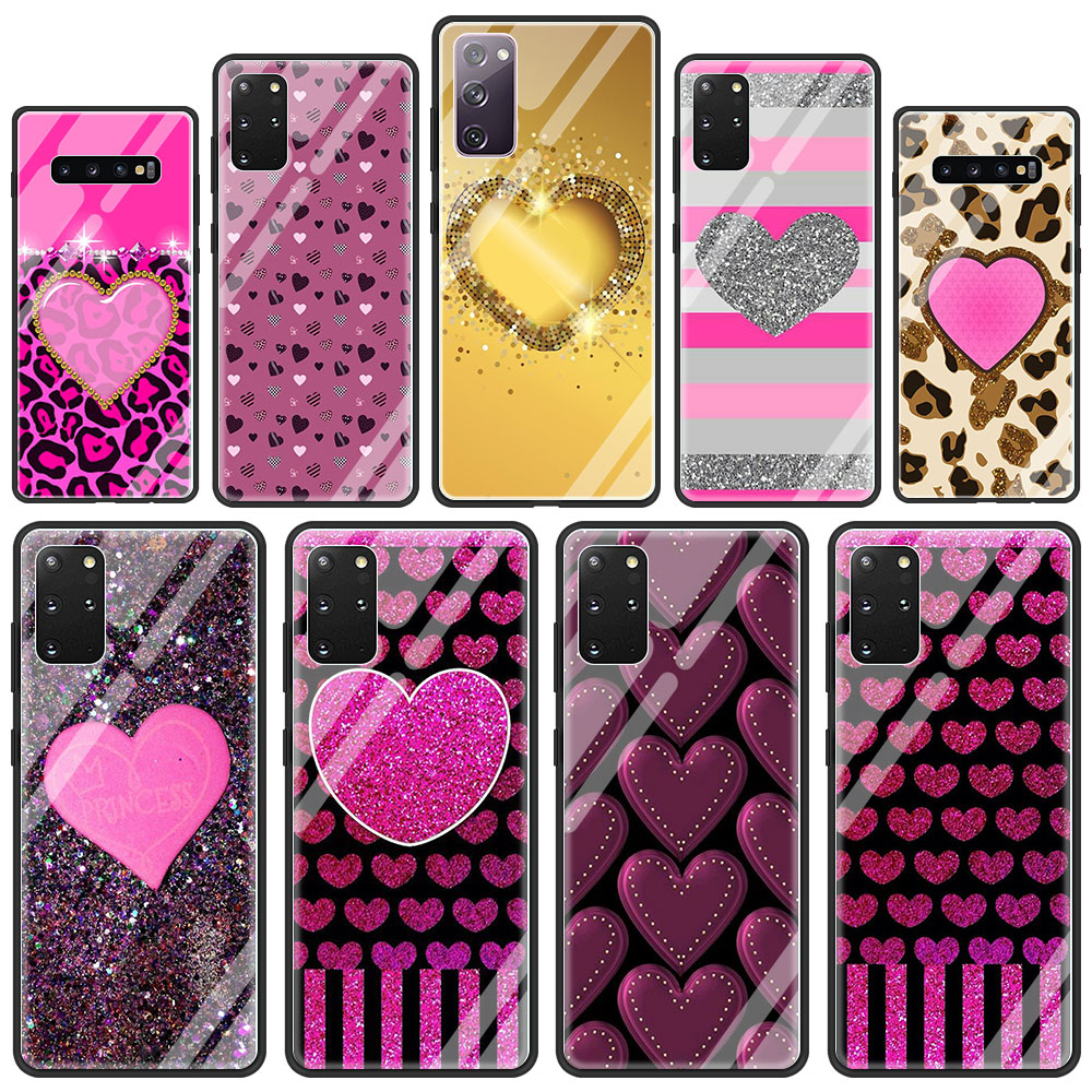 Cute Love Heart Tempered Glass Phone Case For Samsung Galaxy S21 S20 FE S10 Note 10 20 Ultra 5G 9 S9 Plus S10e Cover Coque