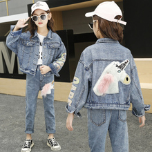 New 2020 Fashion Autumn Denim Jacket For Girls Children Spring Outerwear Cartoon