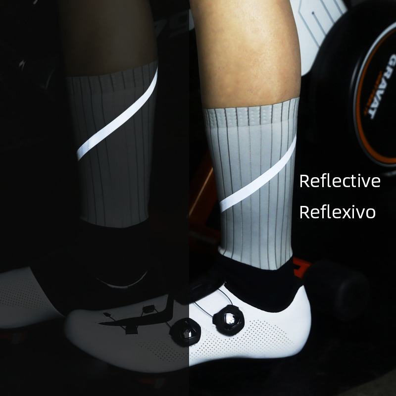 New Reflective Cycling Socks Men Women Breathable Funtion Fabric Bicycle Bike Outdoor Sport Socks Anti Slip Hiking Running Socks