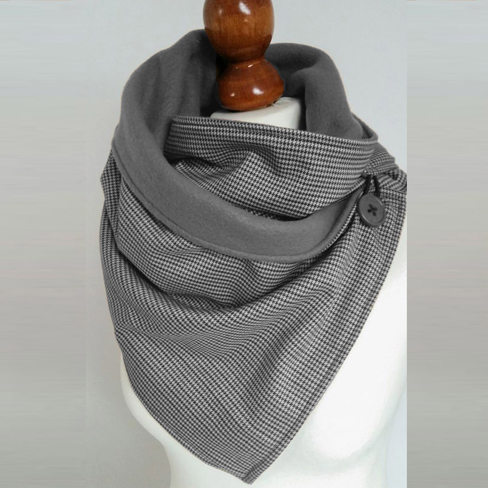 Women Scarf Winter Fashion Stitching PlaiPrint Button Soft Wrap 2020 Casual Warm Scarves Shawls Scarf Women шарф женский