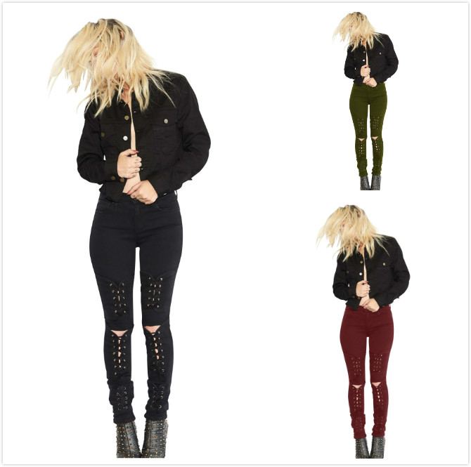 Women's Jeans Newest Arrivals Fashion Hot Women Denim Skinny Pants r Denim Bandage Fashion Sexy Tight-Fitting Slim Feet Pants image