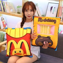 50cm Simulation Pudding French Fries Plush Balls Bag Snack Toy Soft Cartoon Fast Food Stuffed Doll Sofa Pillow Girlfriend Gift
