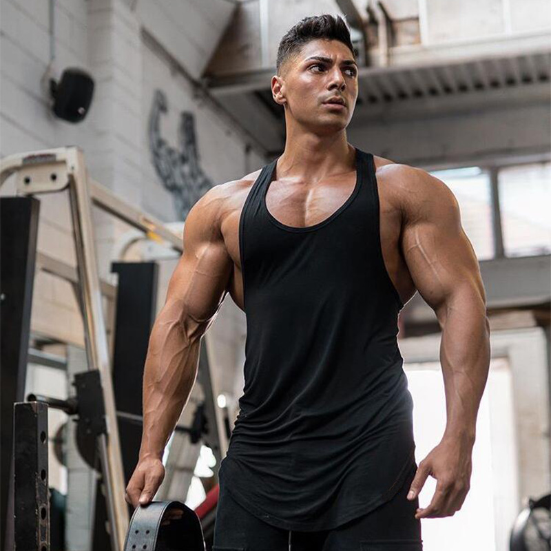 Brand Gym Sleeveless Shirt Solid Cotton Clothing Tank Tops Workout Muscle Men Fitness Bodybuilding Stringer Mens Sporting Vests