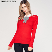Phi Star Brand Women Full Sleeve Self-cultivation Sweaters Bow Collar Thin Slim Fit Red Sweater