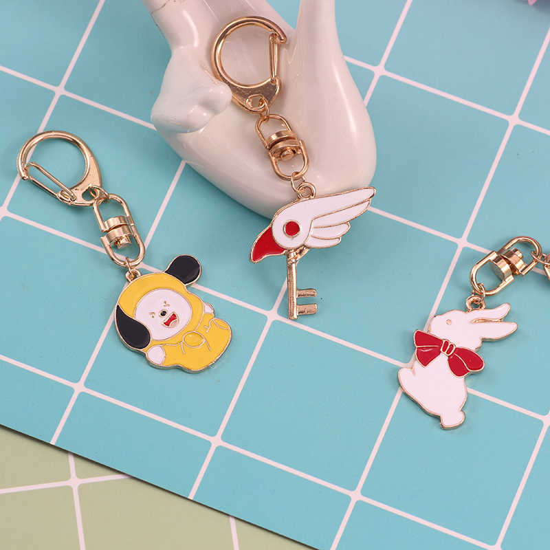 DIY Creative Fish Dinosaur Bird Rabbit Pendant Keychain For Girl And Children Gold Alloy Key Chain Jewelry Birthday Gifts 2019