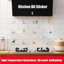 Etiqueta autoadesiva do óleo da cozinha 60*90cm resistência de alta temperatura da folha de alumínio da parede da cozinha etiquetas da telha dos desenhos animados s s s stickers s