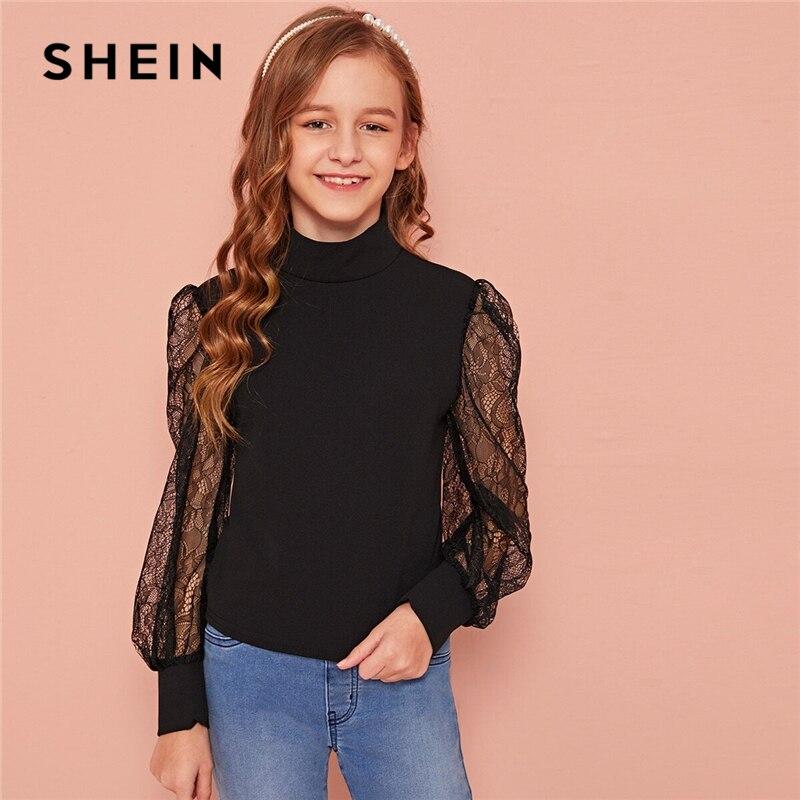 SHEIN Kiddie Black Stand Collar Contrast Lace Elegant Blouse Kids Tops 2020 Spring Lantern Sleeve Buttoned Sheer Girls Blouses