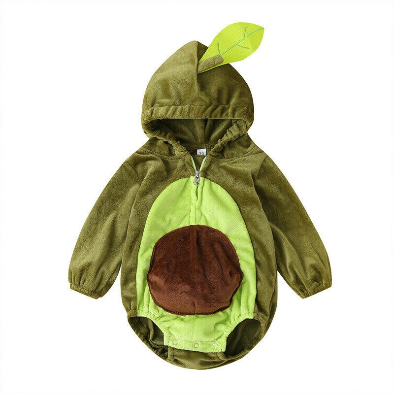 Christmas Infant Bodysuit Avocado Kids Baby Boy Girls Long Sleeve Jumpsuit Hooded Bodysuit Zipper Baby Clothing Party Costume
