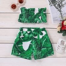 Toddler Kid Baby Girl Clothes Sleeveless Ruffle Crop Top Shorts Floral Summer Outfit 1-4Years wholesale baby girl clothes summer blue sleeveless top fish embroidery decor pattern fashion ruffle shorts matching boy t shirt