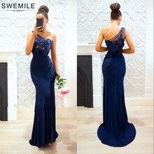 SWEMILE Navy Blue Mermaid Lace Evening Dress 2019 Robe De Soiree Chic 3D Flower One Shoulder Split Prom Gowns Vestido Festa