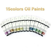 25 мл 15 цветов масляная пигментная краска художественные принадлежности раскраска студенческие краски инструменты для рисования Базовая б...