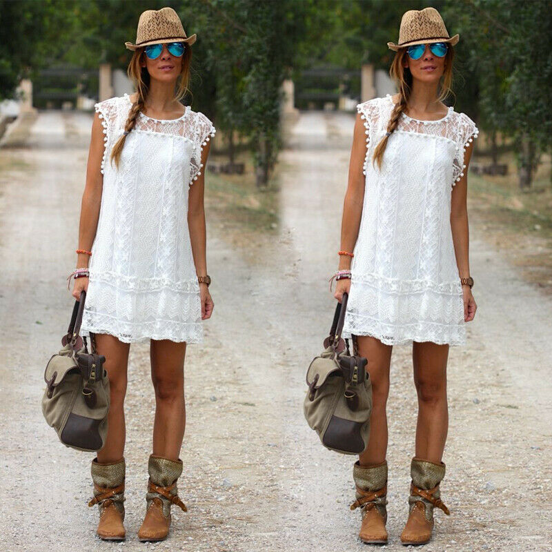 2019 star style white dress fashion temperament sexy wild summer women's dress party dress beach dress holiday travel Playsuits