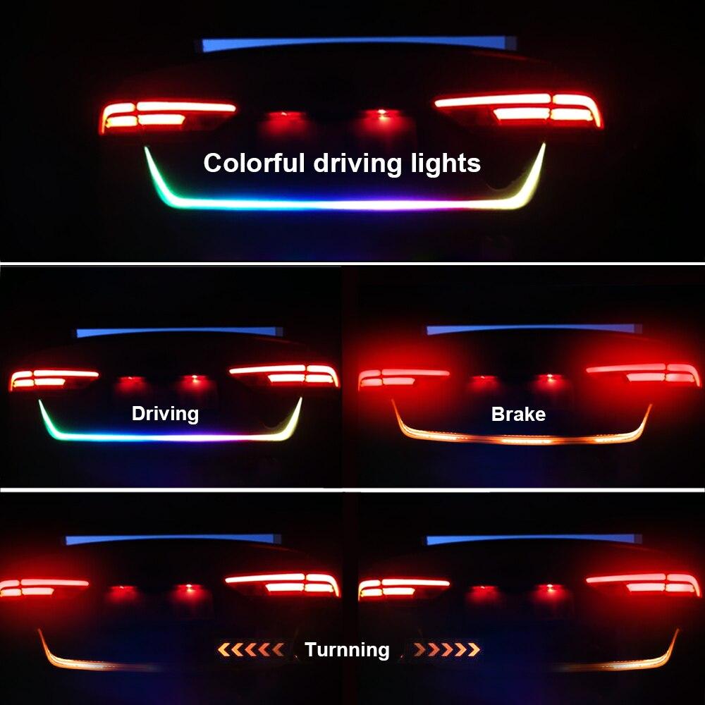 FORAUTO 1.2m 12V Car Rear Trunk Tail Light Dynamic Streamer Reverse Warning Light Brake Turn Signal Lamp Car LED Strip