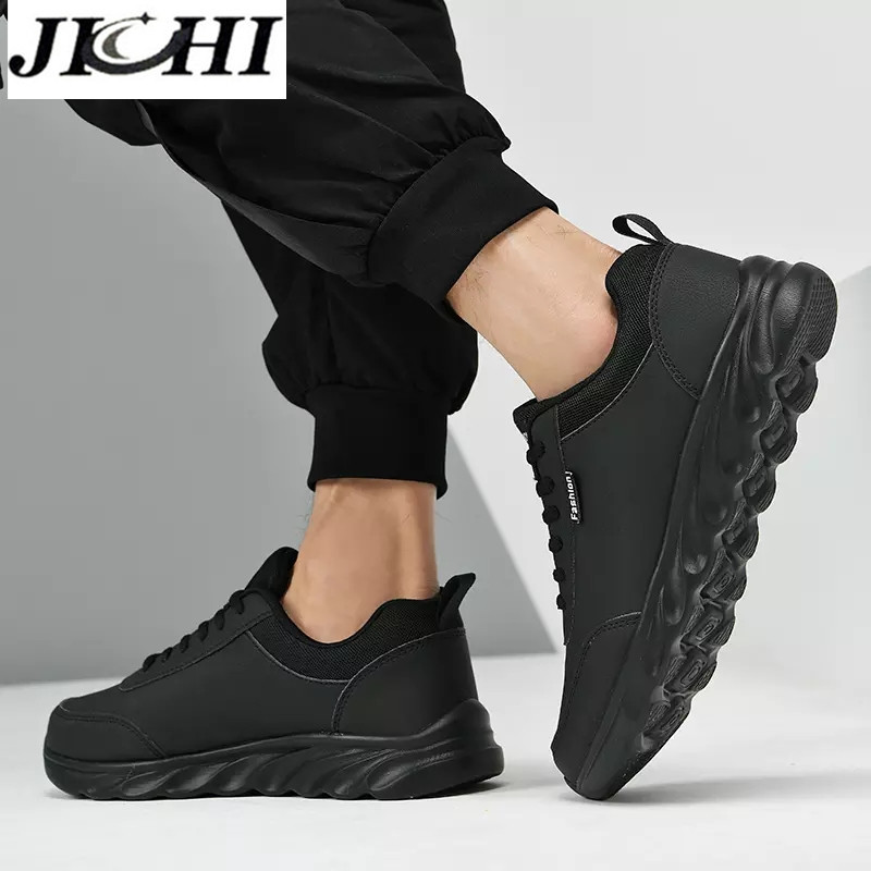 JICHI Men Casual Shoes Leather Breathable Men Sneakers Comfortable Walking Shoes Lightweight Rubber Couple Sneakers for Men 5